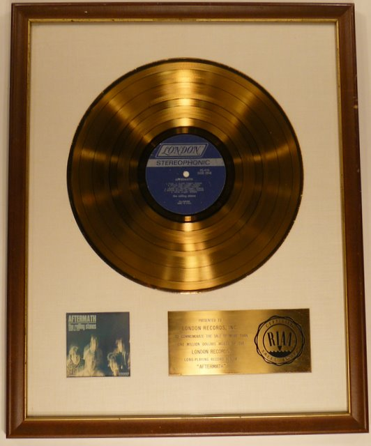 riaa, gold, certified, lp, disc, rolling stones, under my thumb,