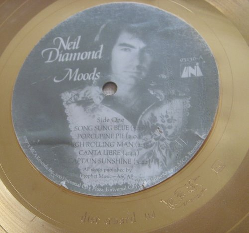 "Neil Diamond ""Moods"" 1974 RIAA Gold LP White Matte Record Award"