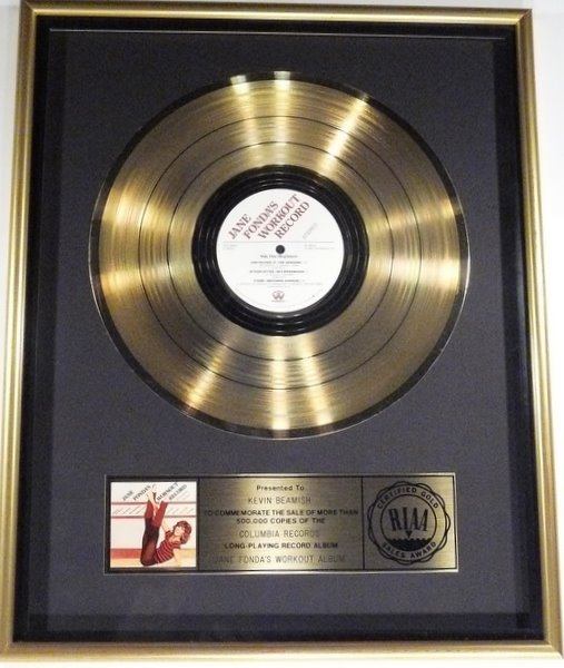 "Jane Fonda ""Jane Fonda's Workout Record"" 1982 Gold RIAA Strip-Plate Record Award"