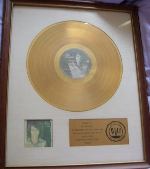 "Neil Diamond ""Moods"" 1972 RIAA Gold LP White Matte Record Award"
